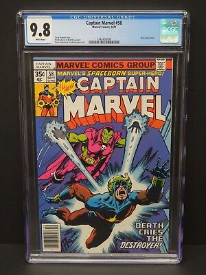 Marvel Comics Captain Marvel #58 1978 Cgc 9.8 White Pages Drax Appearance