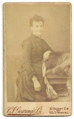 Victorian cdv photo young woman standing London   photographer