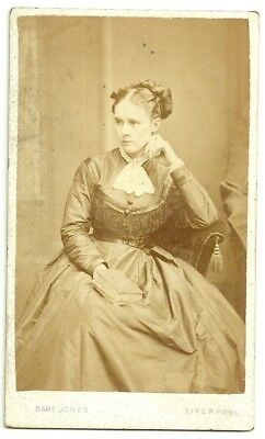 Victorian cdv photo young woman seated long dress Liverpool  photographer