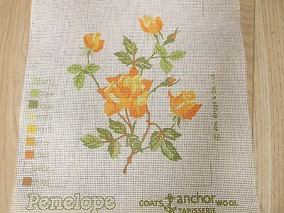 "NEW. PENELOPE PRINTED TAPESTRY CANVAS. ""ORANGE ROSE`S"" 30 X 25 cm. .GREAT LOT."