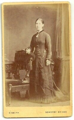 Victorian cdv photo young lady standing Sowerby Bridge  photographer
