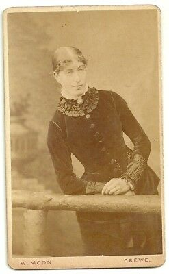 Victorian cdv photo young lady standing Crewe  photographer