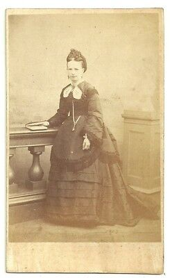 Victorian cdv photo young lady standing Coventry   photographer