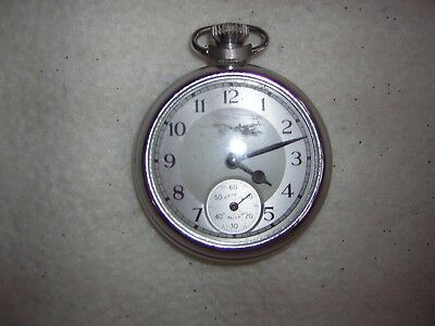 Vintage Smiths Empire Chrome Pocket Watch In Fully Working Order 4 Cm Diameter