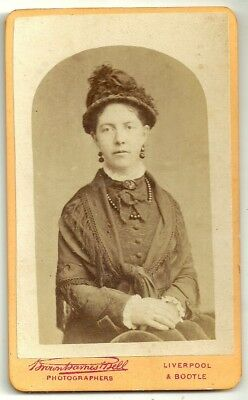 Victorian cdv photo young lady hat and shawl Liverpool  photographer