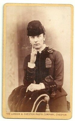 Victorian cdv photo young lady fur hat Chester  photographer