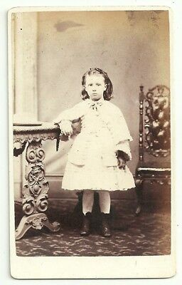 Victorian cdv photo young girl pale frock standing Chester  photographer