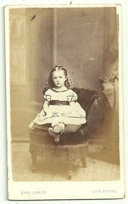 Victorian cdv photo young girl pale frock Liverpool  photographer