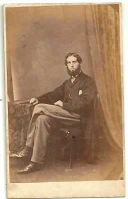 Victorian cdv photo bearded young man seated unstated  photographer