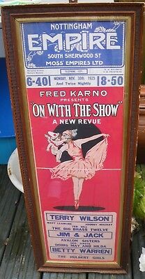 Orig. 1925 Nottingham Empire Theatre Poster~On With The Show~Arthur Ferrier Art