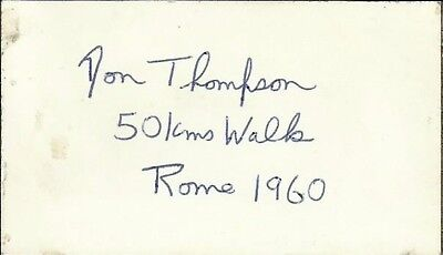 1933-2006 DON THOMPSON (50km Olympic GOLD 1960) white card, ORIGINALLY SIGNED!