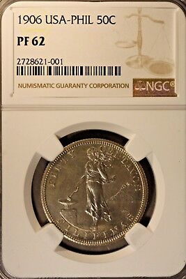 1906 Philippines 50 Centavos Silver NGC PF 62     ** FREE U.S. SHIPPING **