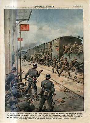 1942 WW2 Russia German Nazi attack Russian tran between Kursk and Kharkov Print