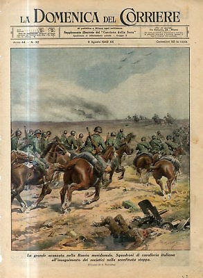 1942 WW2 South Russia Italian cavalry in pursuit of the Soviets in steppe Print