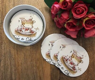 Set of six shabby chic round coasters vintage teacup set in holder gift home