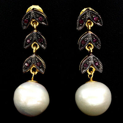 Gorgeous Baroque 13mm Creamy White Pearl Red Ruby 925 Sterling Silver Earrings