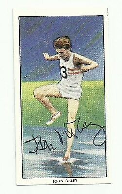 1928-2016 JOHN DISLEY (1952 Olympic Bronze), trade card, ORIGINALLY SIGNED!