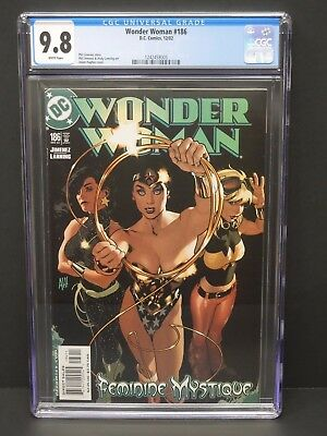 Dc Comics Wonder Woman #186 2002 Cgc 9.8 White Pages Adam Hughes Cover