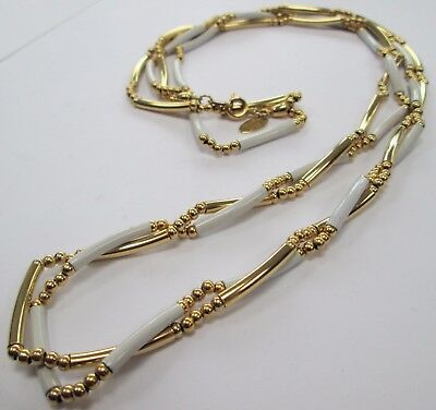 Long vintage 2 row 22 ct gold plated necklace