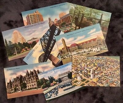 Lot  of 9 Vintage St. Louis postcards, 1913 to 1940s, 8 cards unposted