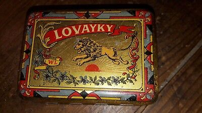Boite tôle 1900 MIROIR mirror tin LOVAYKY Lion Pont JAPON Japan FIL maquillage
