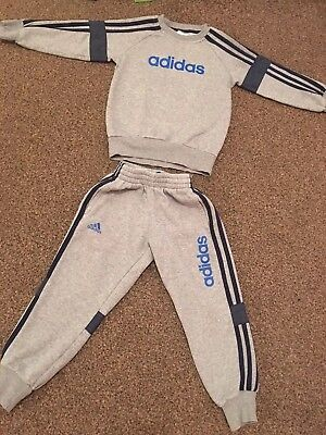 Boys Adidas Grey And Navy Tracksuit. Size Age 4-5 Years. JD Sports