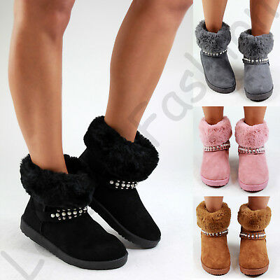 New Womens Winter Style Flat Boots Fur Lined Apres Ski Casual Warm Comfy  Shoes f4547ce61ceb