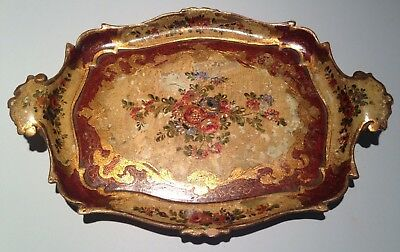 Wood Serving Tray Italian Florentine Gilt Hand Painted Tole  Antique