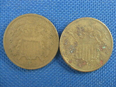 Lot Of 2 Us 2 Cent Coins 1866 1868
