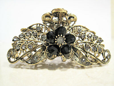 Bronze  large black flower jeweled antique style metal hair claw clip  crystals