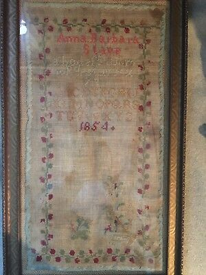 Antique 1854 Sampler. Anna Barbara Stape. Framed.