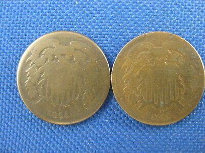 Lot Of 2 Us 2 Cent Coins 1864 1865