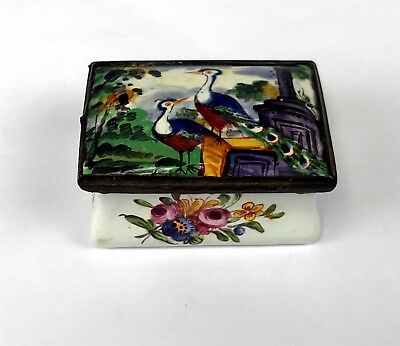 Antique Bilston Battersea Enamel on Copper Patch or Snuff Box w/ Peacocks