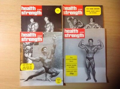 Four Issues Of Bodybuilding Health And Strength Magazine 1974