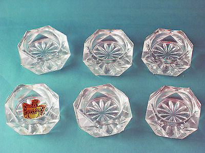 Vintage Czechoslovakia Crystal glass open salt dishes - all in excellent conditi