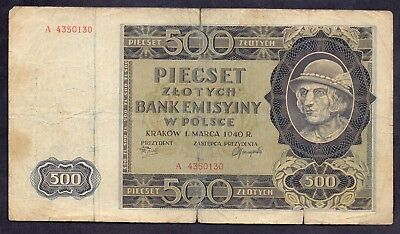500 Zlotych From Poland 1940
