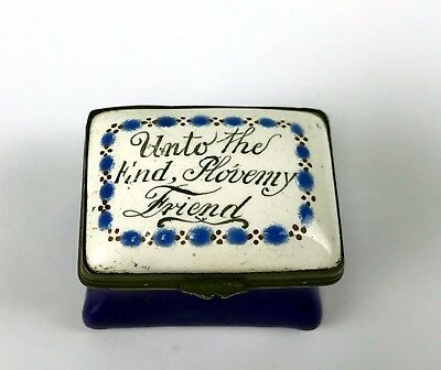 Antique Bilston Battersea Enamel Patch Box Cobalt Blue Friendship
