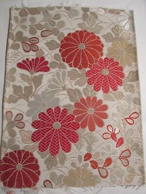 """Cheerful Red Flowers Gold and Silver Accents OBI Silk Fabric Japan 16"""" ~ NR 8467"""