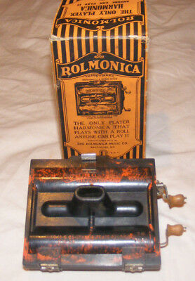 Vintage 1920's 30's Rolmonica original 1 Roll Works RARE Harmonica with box