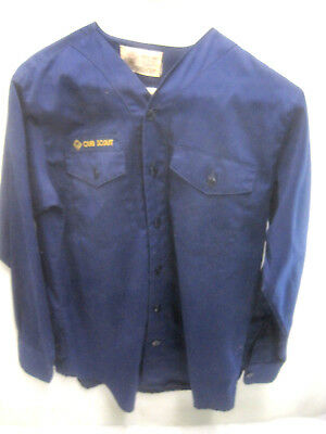 Vintage Official Cub Scout Blue Youth Collarless Uniform Long Sleeve Shirt