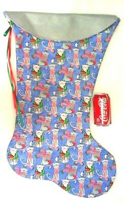 Giant Christmas Stocking Whimsical Cats In Snow Print Handmade & New