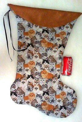 Giant Christmas Stocking Cats Galore  Print Handmade & New