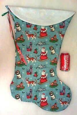 Giant Christmas Stocking Whimsical Santa Cats Print Handmade & New