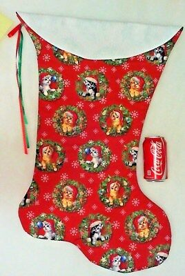 Giant Christmas Stocking Kittens In Wreaths Print Handmade & New