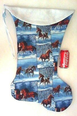 Giant Christmas Stocking Wild Horses In Snow Print Handmade & New