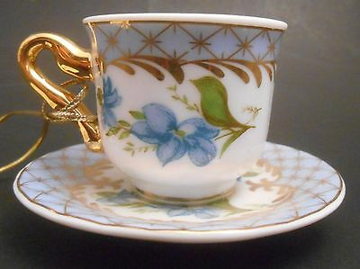 Harrods Knightsbridge Blue Wildflowers Teacup & Saucer Porcelain Ornament NEW