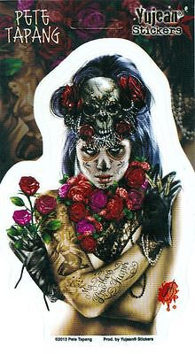 Pete Tapang, Voodoo Sugar Skull La CALAVERA CATRINA PINUP Pin Up Sticker DECAL