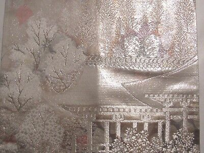 """Winter Temple Oh so Pretty Finely Embroidery OBI Silk Fabric Japan 16"""" ~ NR 8471"""