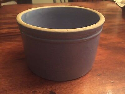 Antique Vintage Small Drippings, Butter  Or Salt Stoneware Crock Blue Glaze