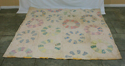 Antique Hand Stitched Dresden Plate Pattern Share Cropper Quilt